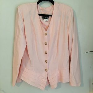 '80s Vintage Peach Top Pointed Pleats Gold Buttons